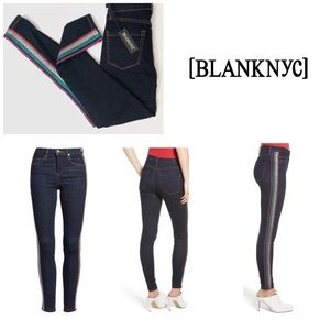 Blank NYC The Bond Metallic Stripe Skinny Jeans